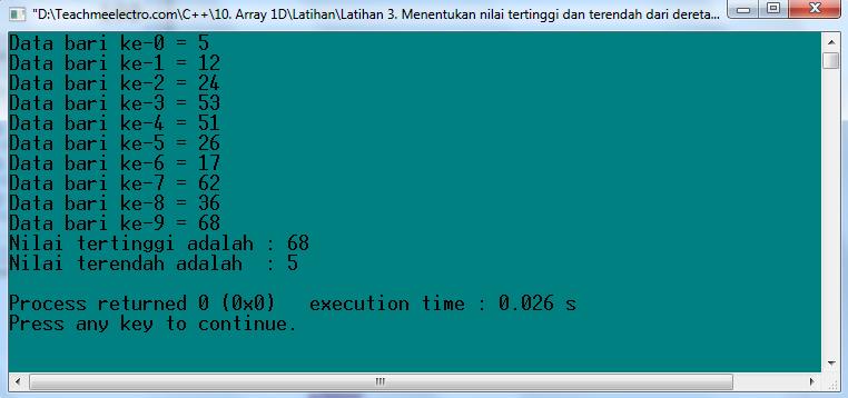 Latihan 3. Menemukan nilai tertinggi dan terendah dari deret array