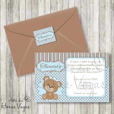 convite aniversário infantil personalizado artesanal ursinho urso poá bolinhas marrom azul menino bebê 1 aninho festa envelope adesivo tag