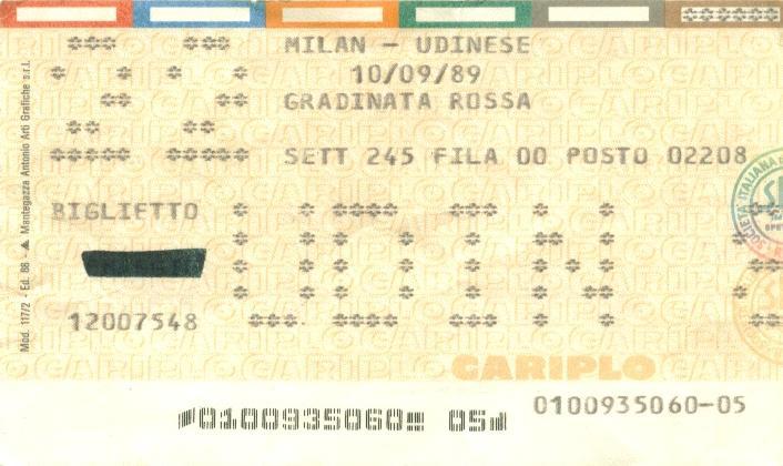 biglietti milan udinese 30 novembre 1989 - photo#3