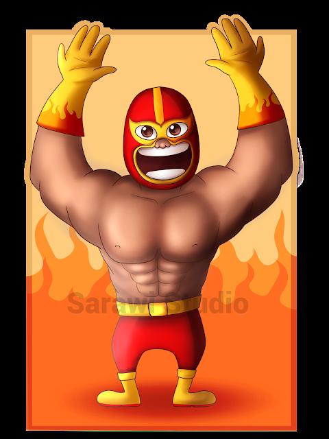 postać, zapaśnik, meksyk, ogień, rysunek, digital painting, drawing, ComCom!!, wyzwanie, challenge
