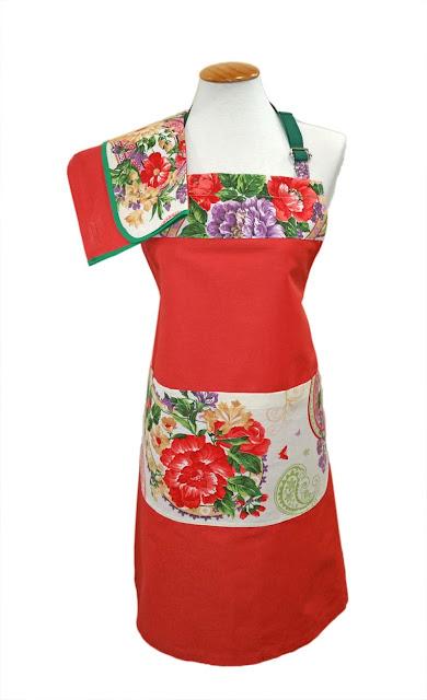 delantal llamativo floral y rojo