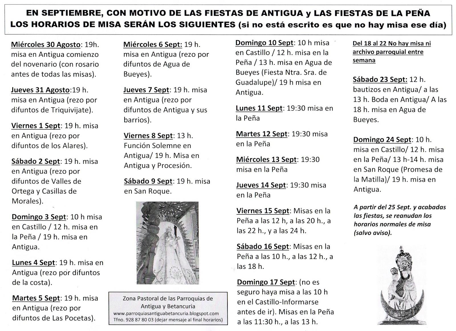 Hoja Parroquial de las Parroquias de Antigua y Betancuria: Cambios ...