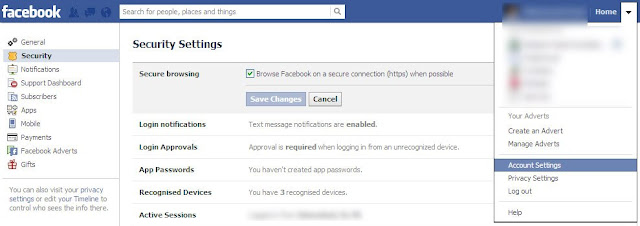 enable secure browsing to enahnce security of your facebook account