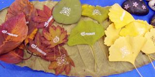 「いたばし産業見本市」で展示した葉っぱ印刷