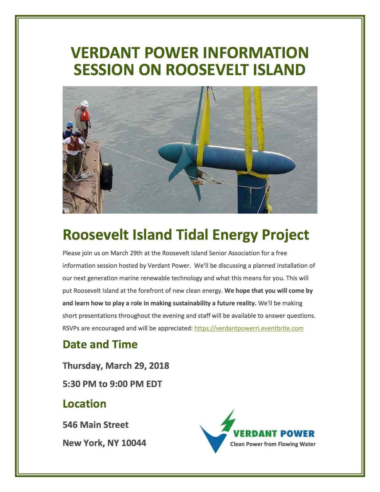 Verdant Power S Roosevelt Island Tidal Energy