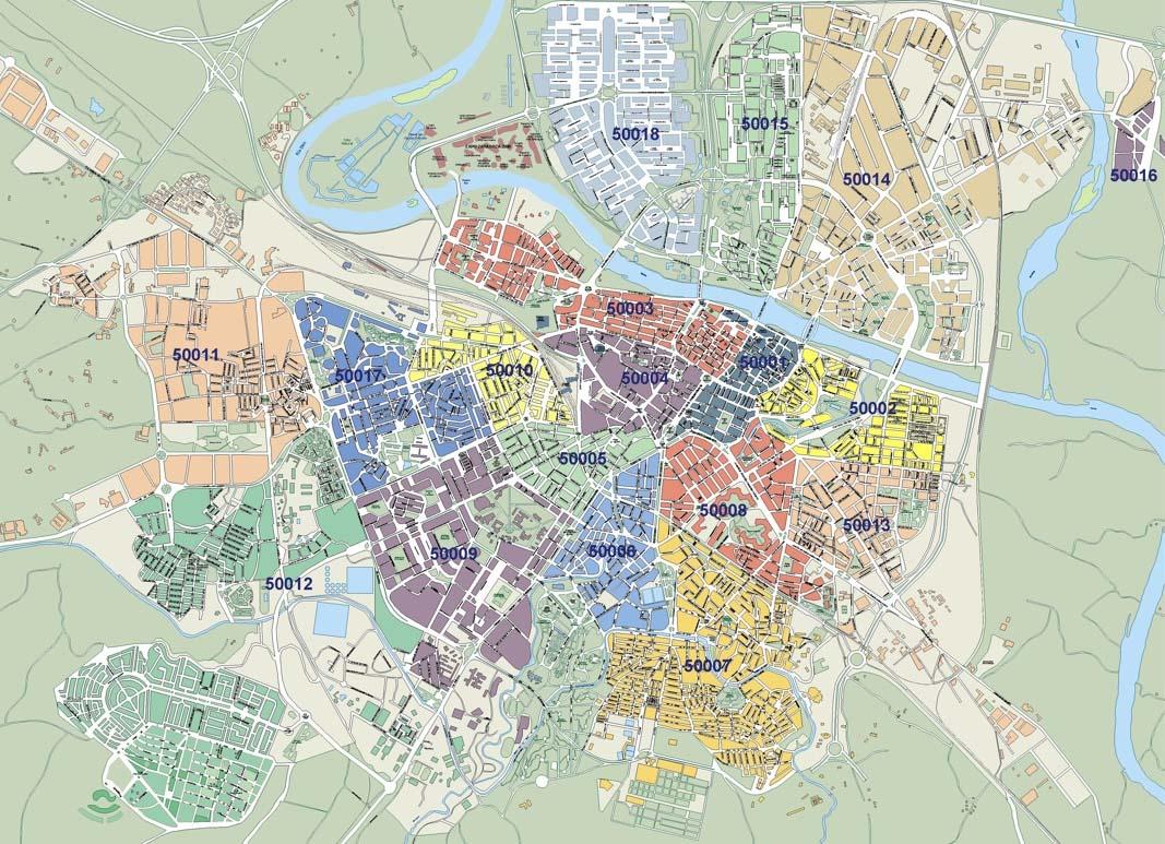 Mapa De Zaragoza Ciudad.Es Zaragoza Plano De Zaragoza Con Los Codigos Postales