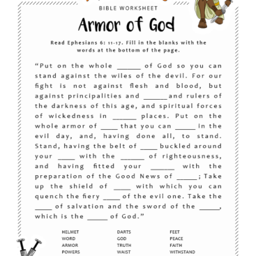 printable worksheets for adults bible study the armor of god ...