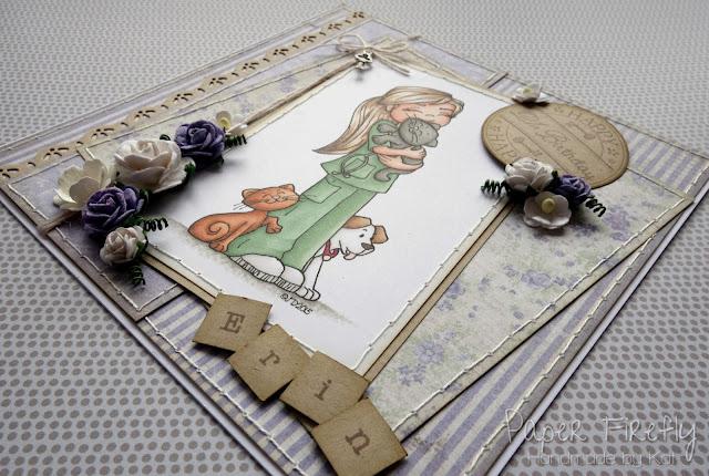 Lilac floral card with veterinary nurse girl (Time 4 Tea digi image)