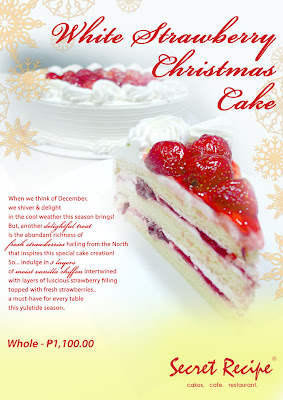 white strawberry christmas cake