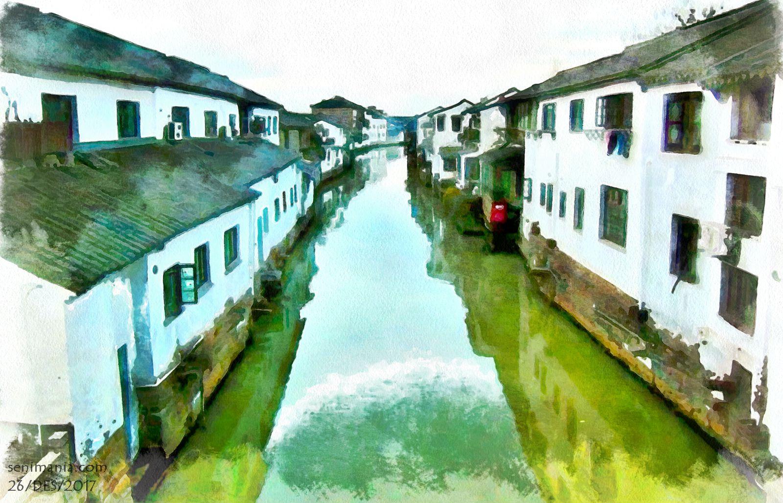 Gratis Download Gambar Lukisan Rumah Dipinggir Sungai Ukuran 4K Wallpaper