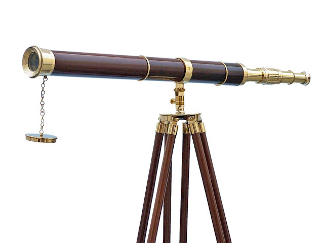 Admirals Floor Standing Brass with Wood Telescope