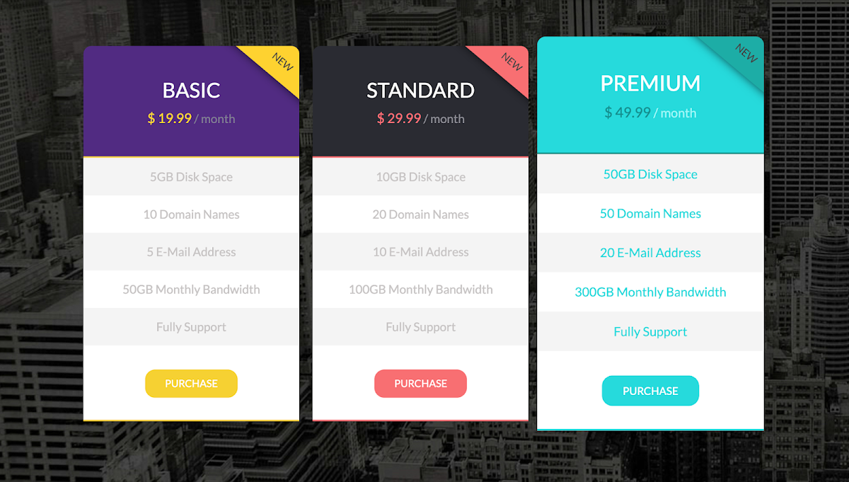 Flat Pricing Tables Design
