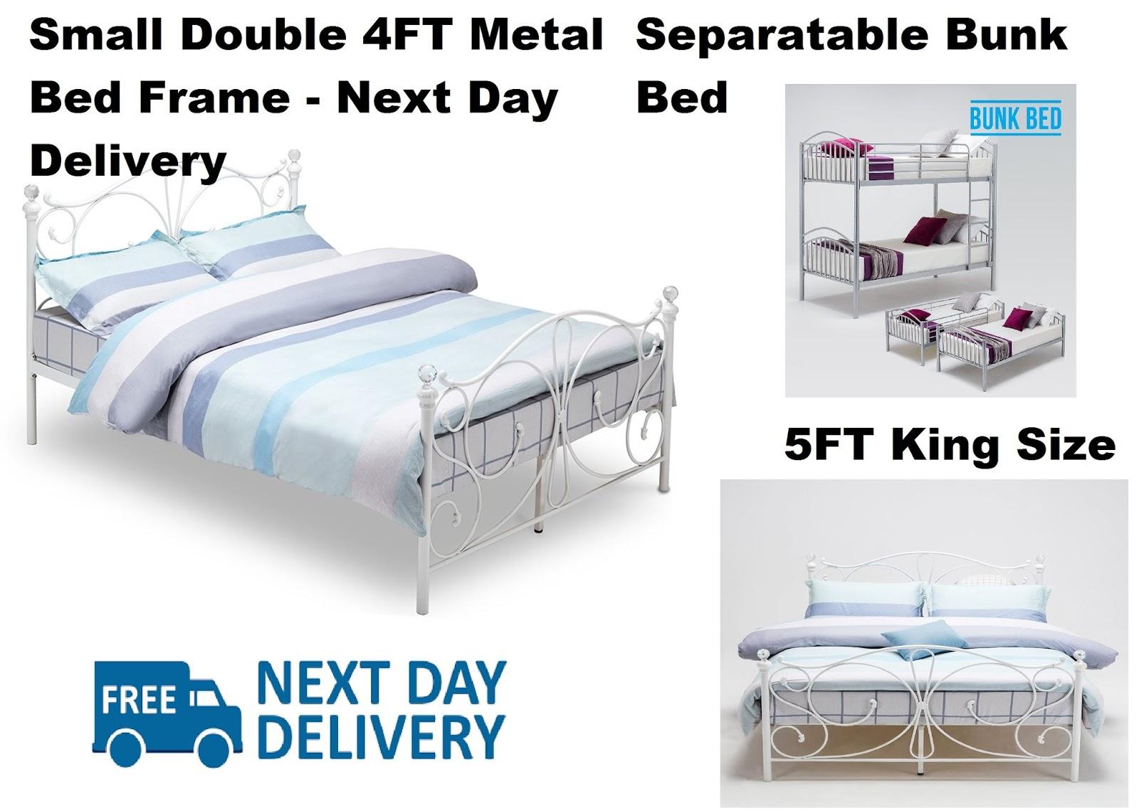 metal bed frame 4ft small double separable 3ft bunk 4ft6. Black Bedroom Furniture Sets. Home Design Ideas