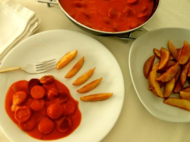 Salchichas en salsa de hortalizas
