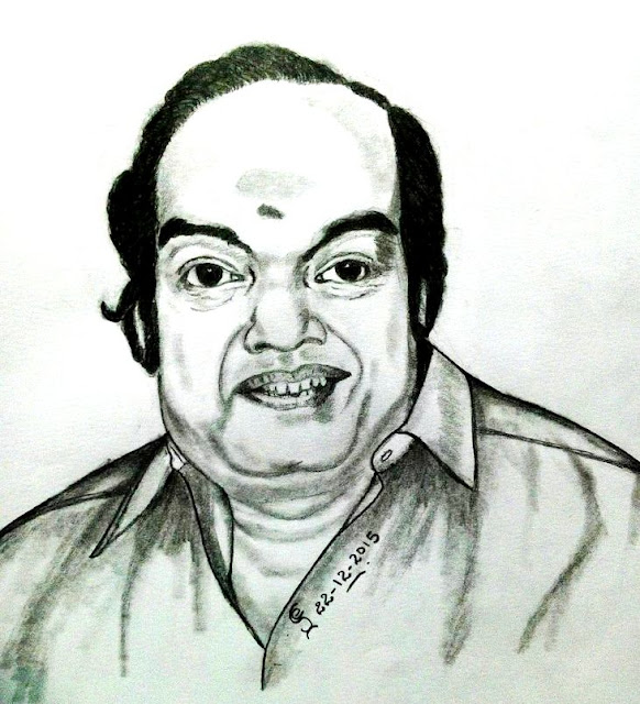 "PENCIL  DRAWING - ""Kaviarasu"" Kannadasan"