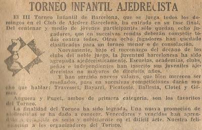 Recorte de prensa del III Torneo Infantil de Barcelona