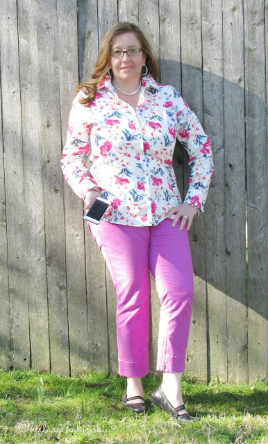 Floral Top Paired with Colored Cropped Pants