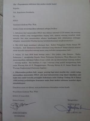 Tiga Warung Makan Solo Positif Mengandung Babi, LUIS Surati Kapolresta Surakarta