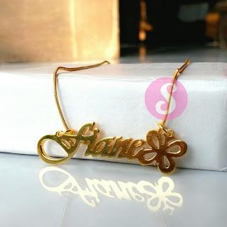 kalung nama lapis emas grafir - fiane