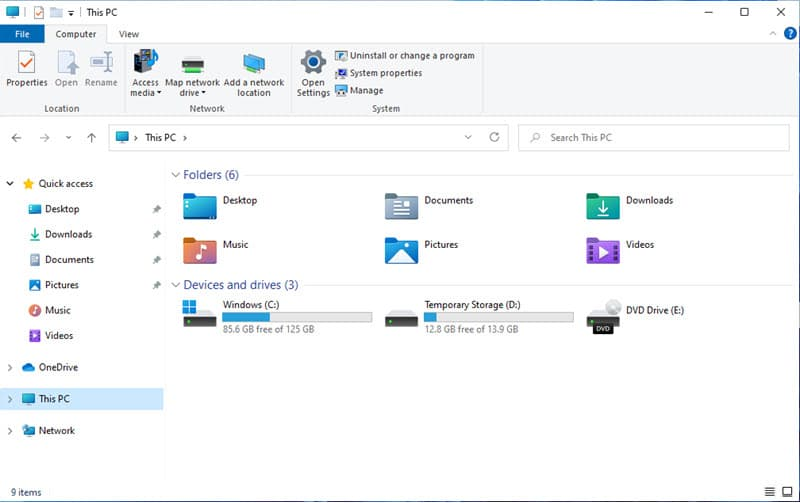 The new look of File Explorer with new icons