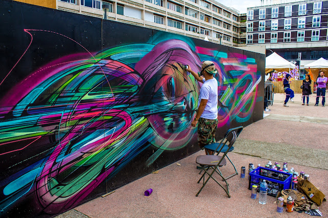 French Street Artist Hopare In Cergy, France For The Cergy Soit Street Art Festival. 3