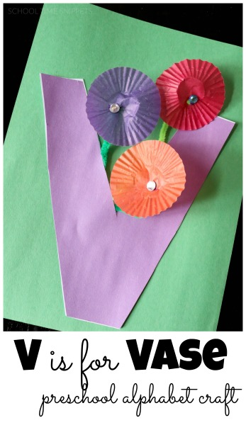 Teach your preschooler the letter V with this simple Letter V is for Vase Craft.  Love the cupcake liner flowers!