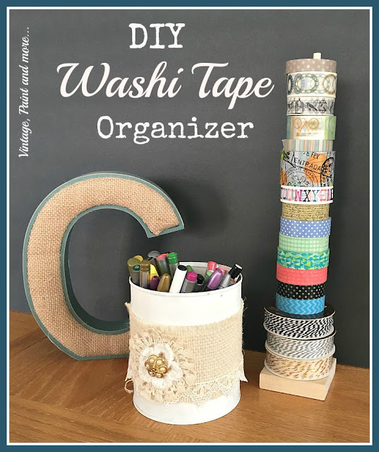 DIY washi tape organizer made from a dowel rod and wood medallion