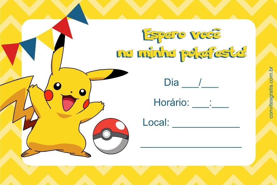 Convites Grátis Convite Pokémon Grátis Para Imprimir