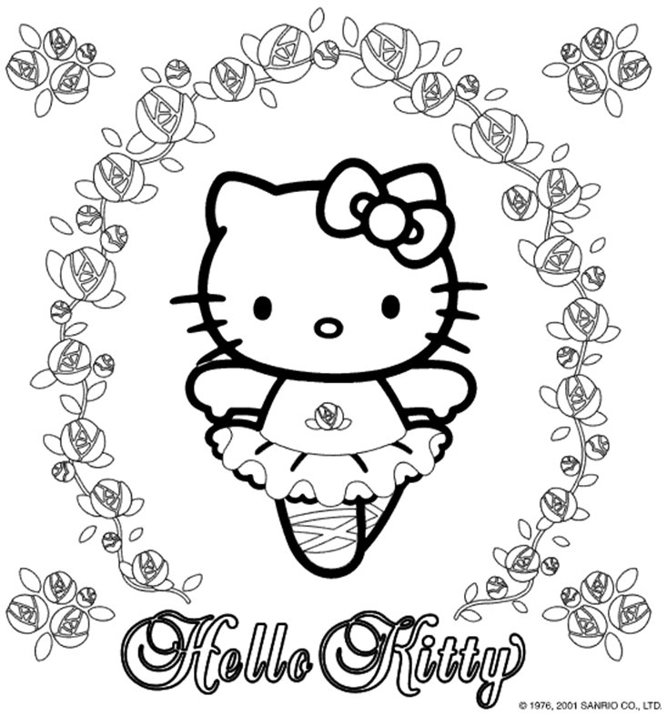 Coloring Activity Pages Hello Kitty Ballerina