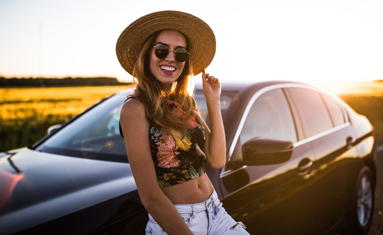 fedora hat sunset girl