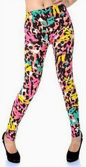 Grafitti Style Leopard Print Leggings for 80s Fancy Dress