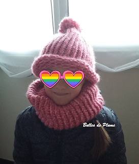ensemble snood + bonnet tricotin