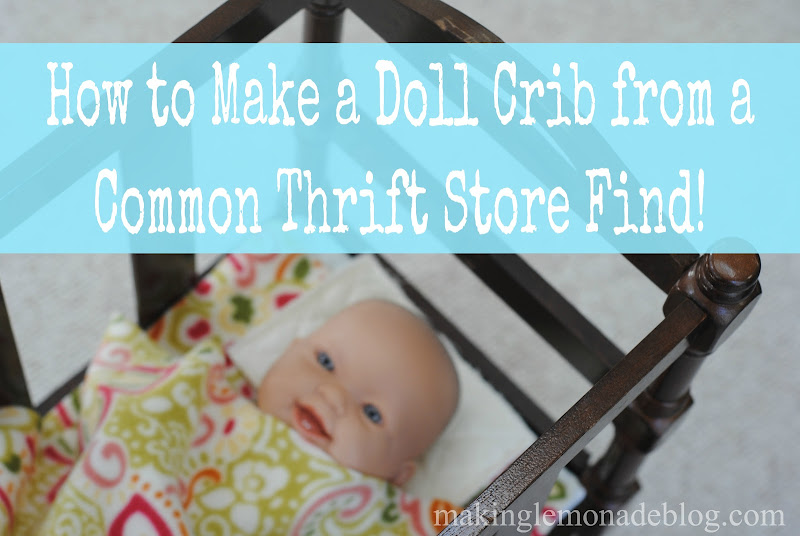 DIY doll crib from a thrift store magazine rack