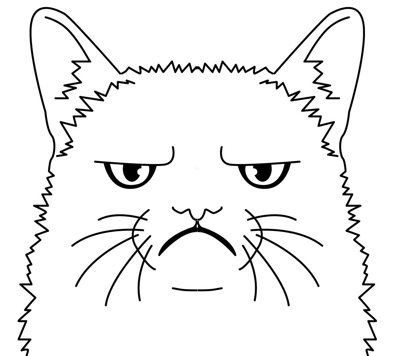 It's just a picture of Astounding Grumpy Cat Coloring Page
