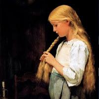 'Trenant-se els cabells (Albert Anker)'