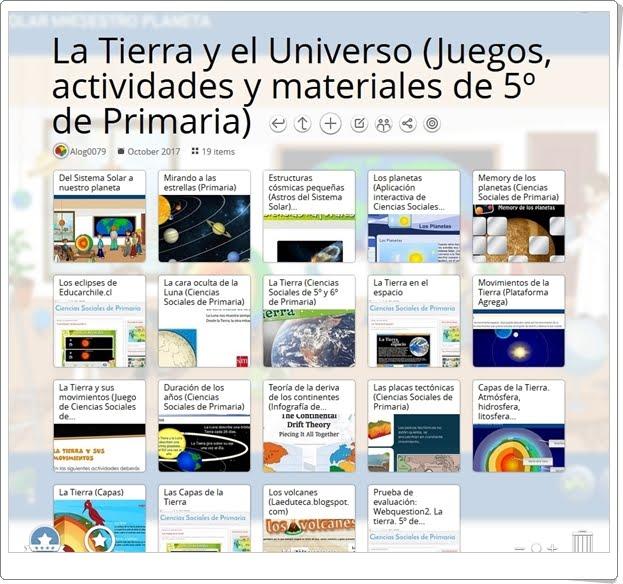 """""""19 Juegos, actividades interactivas y materiales didácticos para el estudio de LA TIERRA Y EL UNIVERSO en 5º de Primaria"""""""