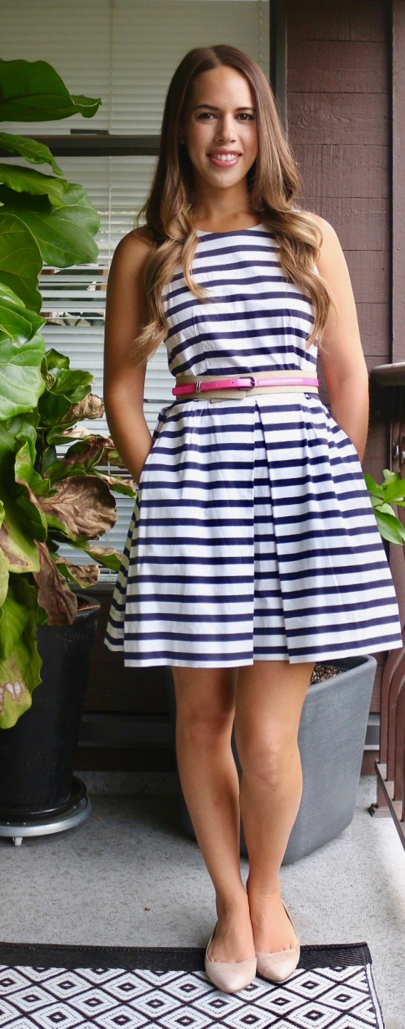 Jules in Flats - Gap Striped Fit Flare Dress for Work