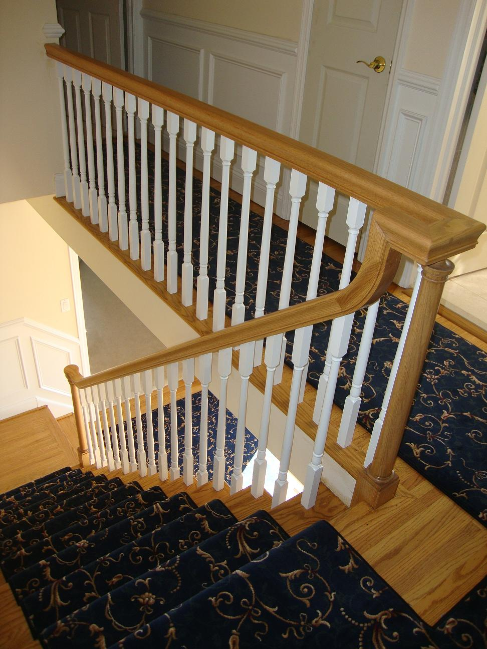 wood handrails for stairs | Wood Stairs and Rails and Iron Balusters: New Handrail ...