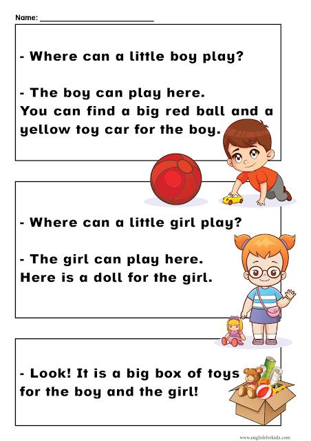 Sight words reading passages pre-primer level - ESL resources