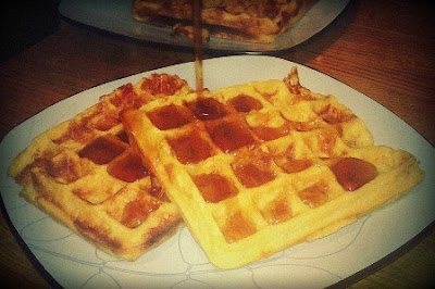 Bacon and Cheddar Cornmeal Waffles
