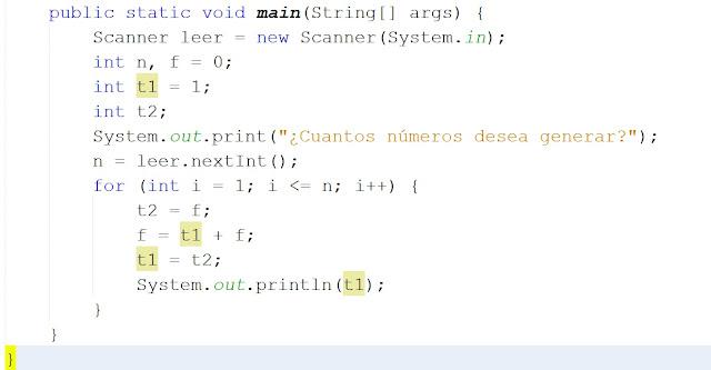 Serie Fibonacci en Java
