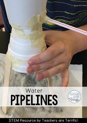 STEM Challenge: Build a water pipeline that will transport water and not leak! Check the blog post!