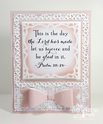 Our Daily Bread Designs Stamp Set: Celebration, Paper Collection: Easter Card 2016, Pastel, Custom Dies: Medium Bow, Lacey Layered Squares, Double Stitched Squares, Squares, Snowflake Sky