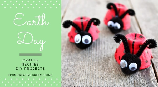 earth day  crafts, recipes, DIY projects from Creative Green Living - ladybugs made from empty egg carton