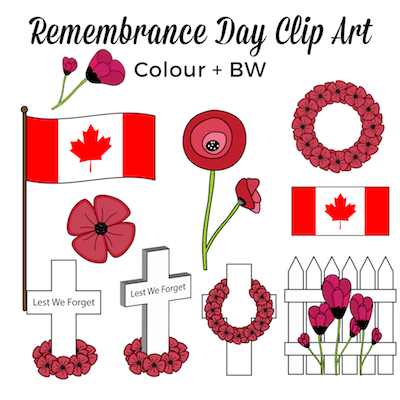 Remembrance Day clipart for teachers #gradeonederful #remembranceday #remembrancedayclipart #poppies