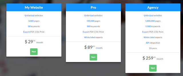 Bảng giá nâng cấp tài khoản tại Site-Analyzer