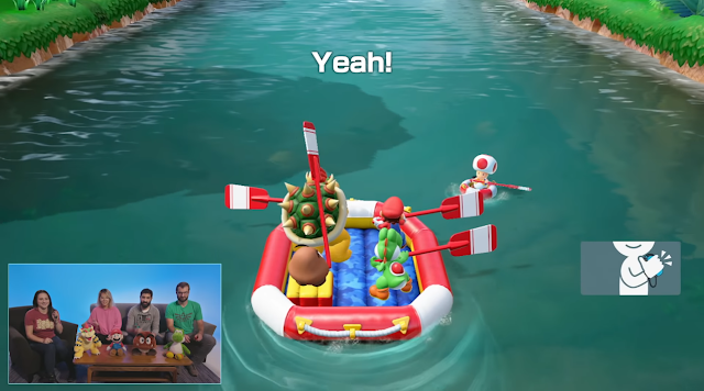 Super Mario Party River Survival Mode Nintendo Switch Joy-Con Yeah gesture oars raft