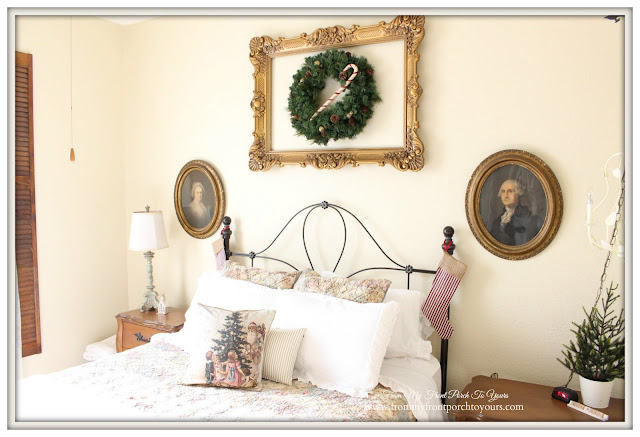 Christmas Guest Bedroom-Christmas Pillow-Antique Lithogrpahs-From My Front Porch To Yours