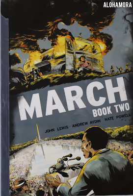March Book 2 by John Lewis is an autobiographical/memoir graphic novel depicting Lewis's role and experience with the Civil Rights movement, Freedom Riders, and the March on Washington. Great read, Fast read. reluctant readers, book, novel, historical, history, series, high school, YA, college, adult, informative. Alohamora Open a Book http://alohamoraopenabook.blogspot.com/