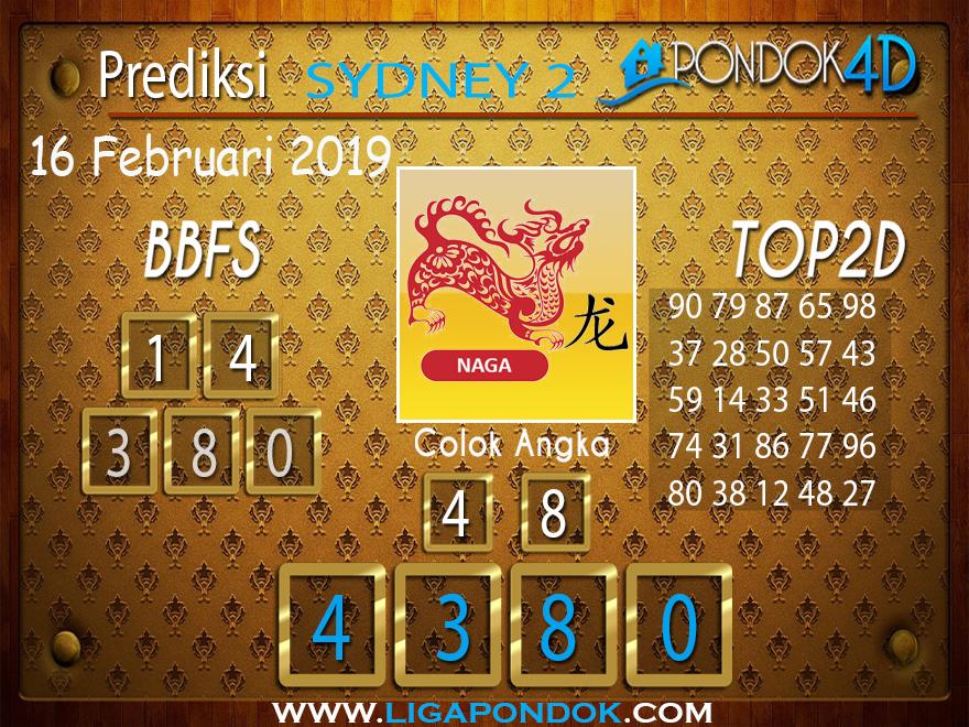 Prediksi Togel SYDNEY 2 PONDOK4D 16 FEBRUARI 2019